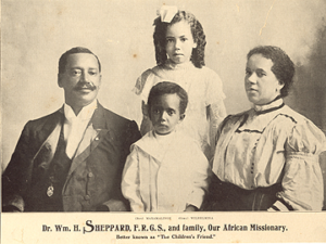Rev. William Sheppard with wife Lucy Gantt and two older children, neither of whom survived childhood.